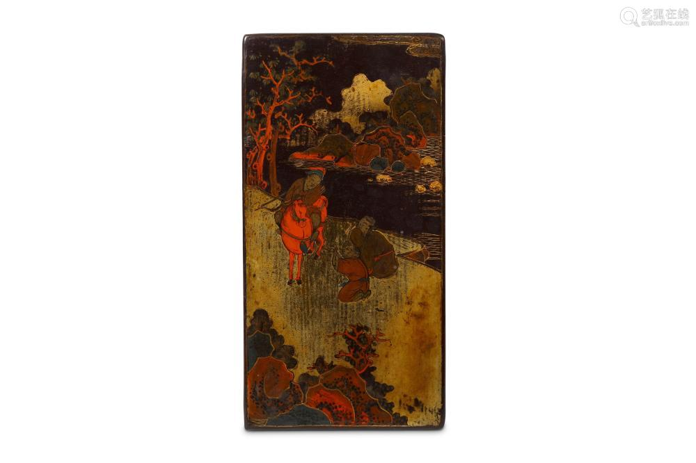 A CHINESE PAINTED BLACK LACQUER PANEL. Kangxi. One side painted in reds and gilt to depict and figure on horseback beside two kneeling attendants within a mountainous watery landscape, the reverse carved with a poetic inscription, 13 x 25cm.