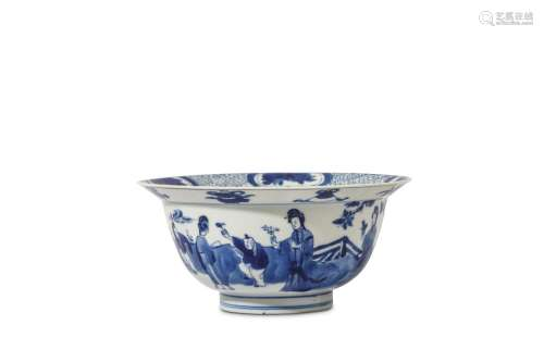 A SMALL CHINESE BLUE AND WHITE 'LADIES AND BOYS' KLAPMUTS BOWL. Kangxi mark and of the period. Decorated with around the exterior with a continuous scene of ladies and dancing boys in a garden, below a band of auspicious symbols to the rim, the