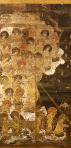 A BUDDHIST PAINTING OF 'DESCENT OF AMIDA'