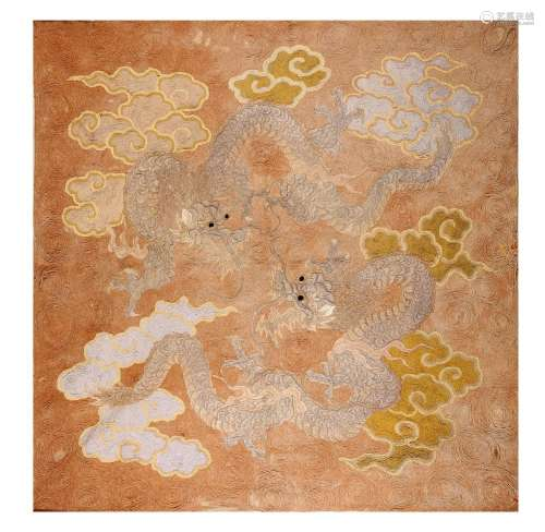 AN EMBROIDERED HANGING. Meiji period. Worked in co