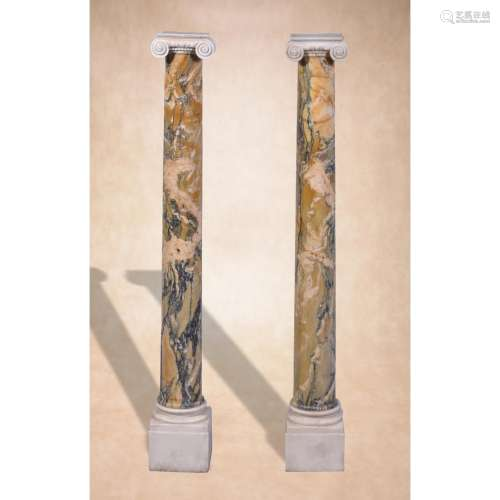 A pair of Italian Convent Siena and carved white marble columnar pedestals