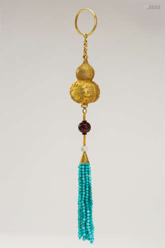 CHINESE PURE GOLD INSENCE CAGE WITH TURQUOISE TASSELS
