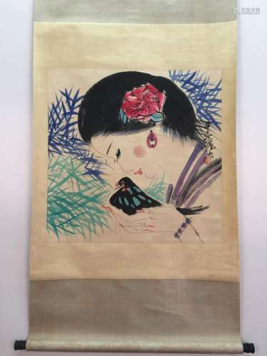Chinese Hanging Scroll Of Lady And Bird