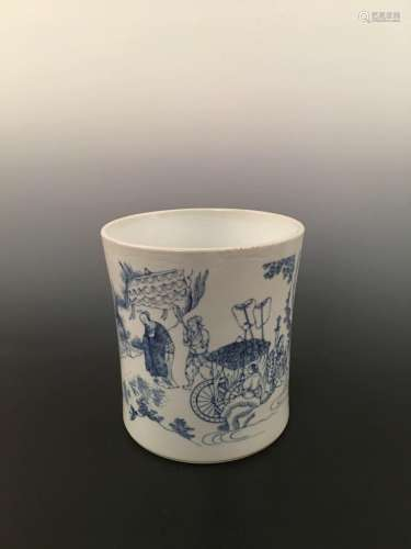 Chinese Blue& White Brushpot With Figures