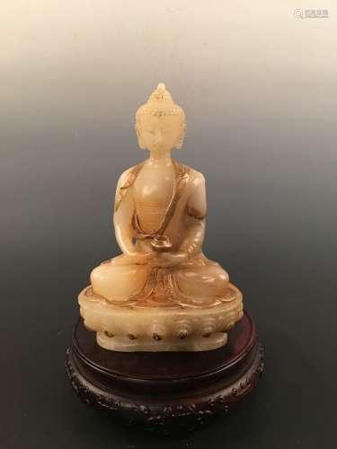 Chinese Gilt Jade Buddha Statue