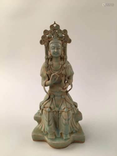 Chinese Celadon Porcelain Guanyin Statue