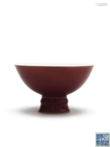 清乾隆 霁红釉高足碗