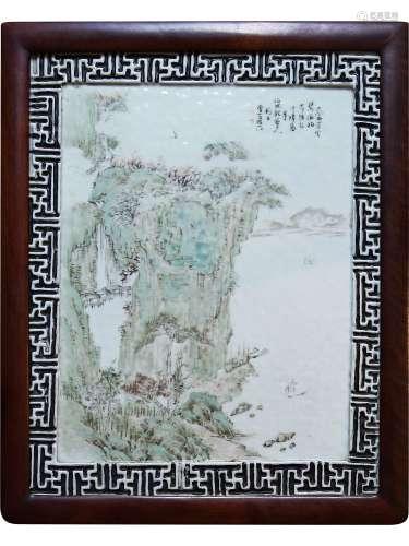 清 程门山水瓷板