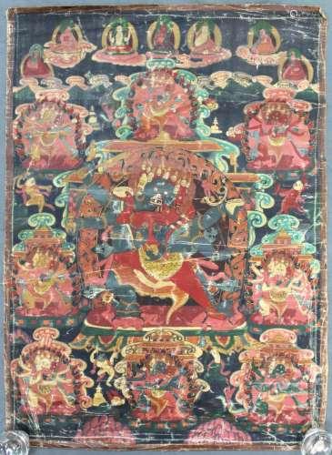 Thangka, China / Tibet old. Probably Yama / Mahakala ?