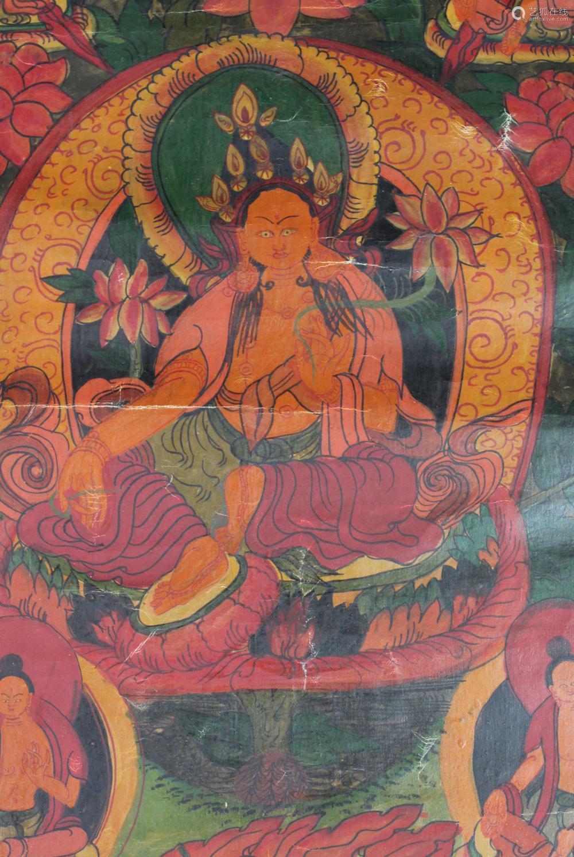 Yellow Tara ? On a lotus throne. Thangka, China / Tibet old.
