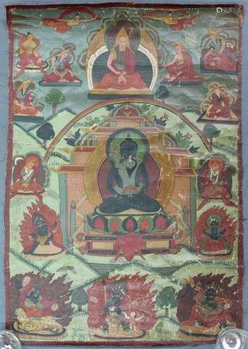 Representation of the Maitreya Buddha ? With green Tare Thangka, China / Tibet old.