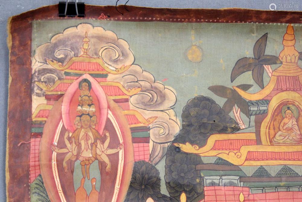 Shakyamuni Buddha Mandala / Thangka, China / Tibet old.