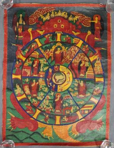 Bhavachakra / 6 Buddha Mandala, China / Tibet old.