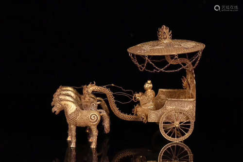 A TANG DYNASTY STYLE GILT SILVER FOUR HORSES-DRAWN VEHICLE