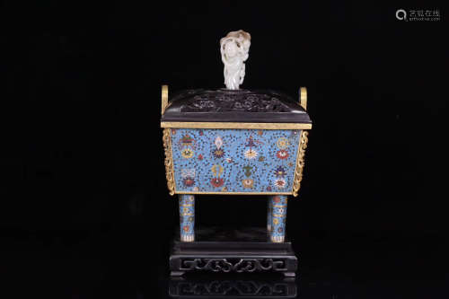 14-16TH CENTURY, A CLOISONNE DOUBLE-EAR CENSER WITH ROSEWOOD COVER AND BASE, MING DYNASTY