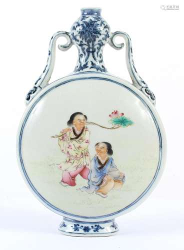 CHINESE PORCELAIN MOON FLASK - Depicting a figure attempting to jig a frog with a hook in one rondel and two figures, one of which i...