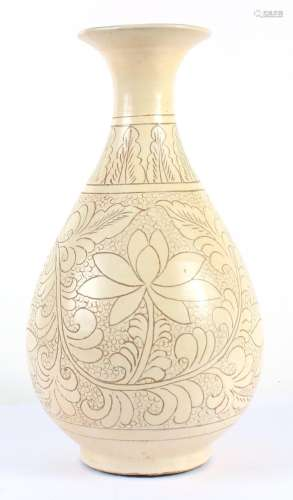 CHINESE ETCHED TAN YUHUCHUNPING VASE - Pear-shaped vessel with flared neck; glazed a semi-matte tan and etched to reveal underlying...
