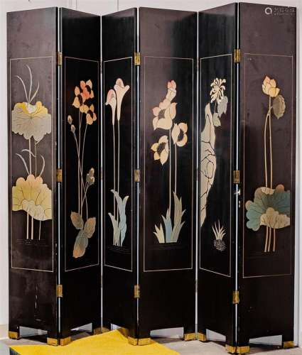 FOUR PANEL ROOM DIVIDER - Chinese style black lacquer with incised decorations. Condition fair to good, with edge blemishes and some...
