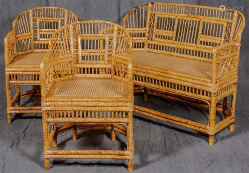 THREE PIECE PARLOR SET - Vintage settee and two chairs of bamboo construction with arched back rests, multiple spindle decorations t...