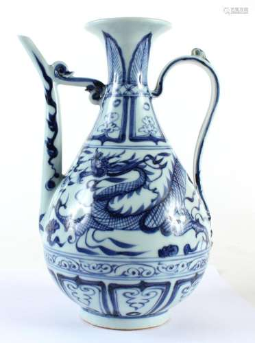 CHINESE BLUE/WHITE PORCELAIN WINE EWER - Bulbous with slender handle and spout; a single dragon circling the body