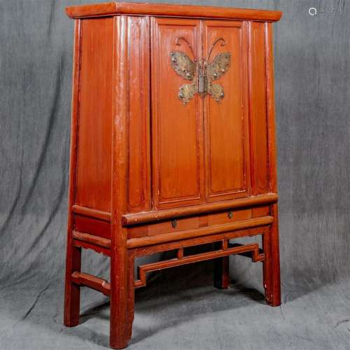 DOUBLE DOOR ARMOIRE - Antique Chinese, possibly Wedding cabinet, with interior drawer unit, large-scale decorative brass butterfly d...