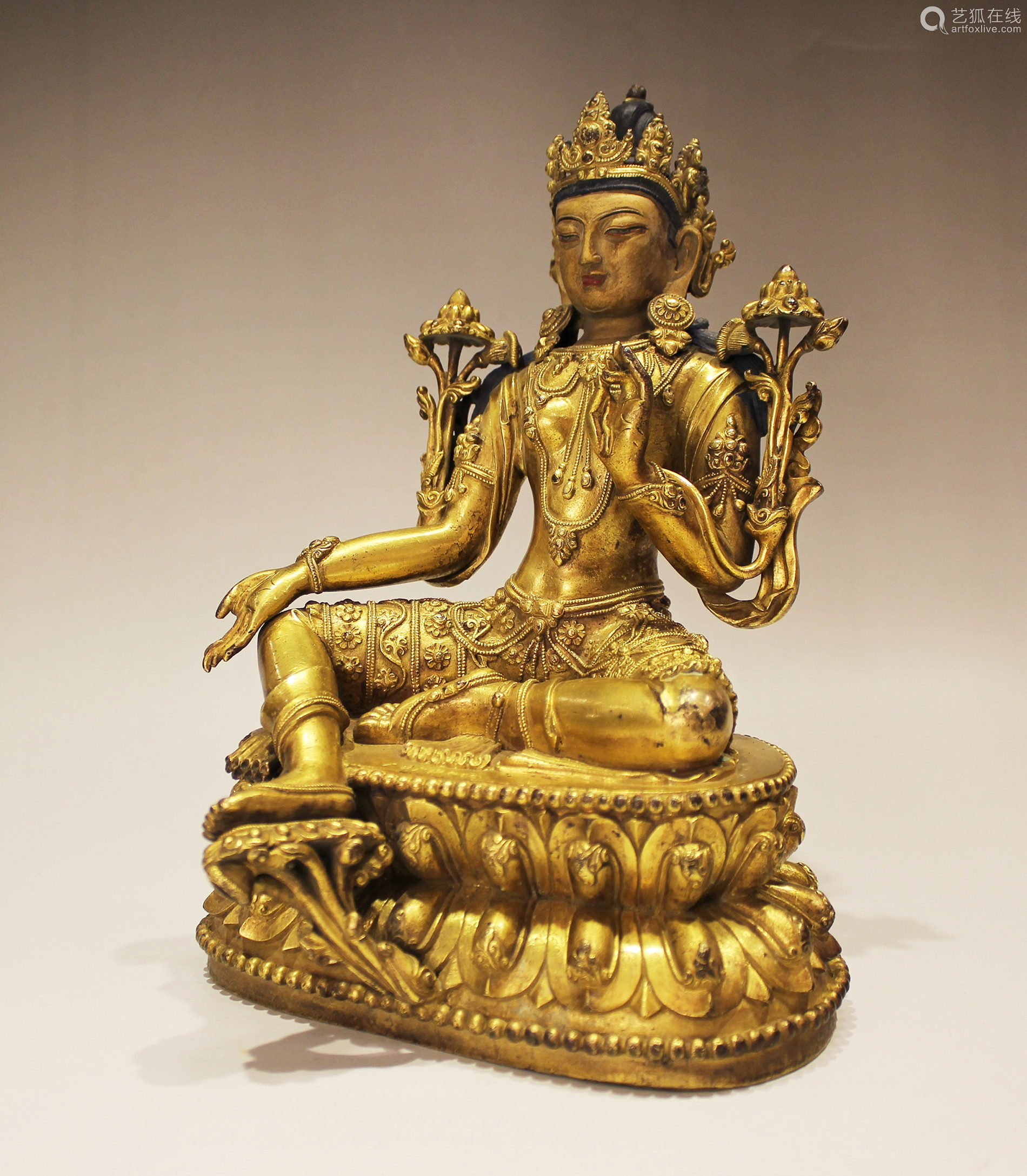 A Gilt-Bronze Figure Of Syamatara With Yongle Mark