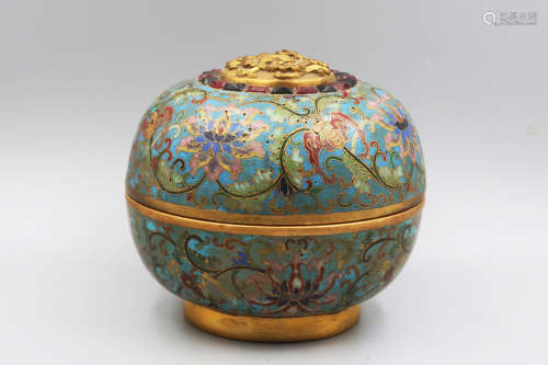 A Cloisonne Enamel Gemstone-Inlaid Round Box