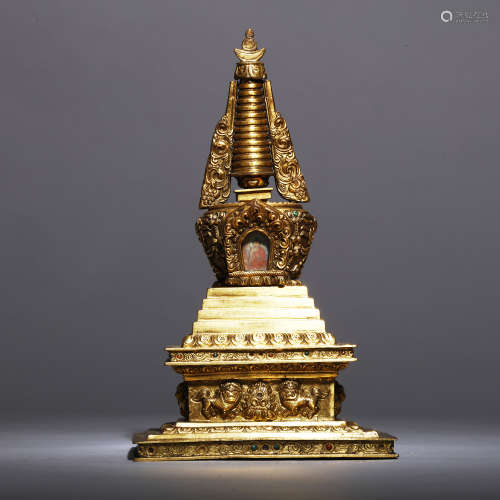 A Tibeto-Chinese Archaic Gilt Copper Stupa