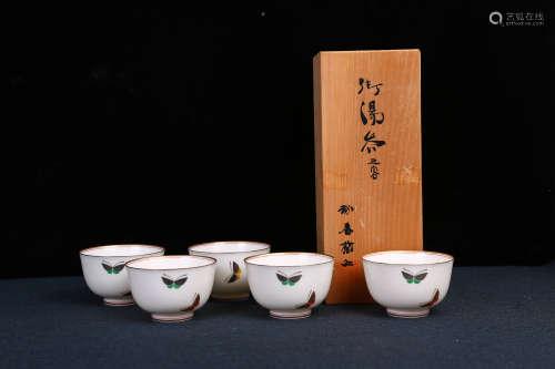 香兰社双蝶纹口沿描金茶碗 汤吞