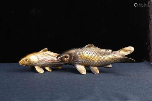 日本著名南部铁器镀铜年年有余(鱼)招财进宝双鱼