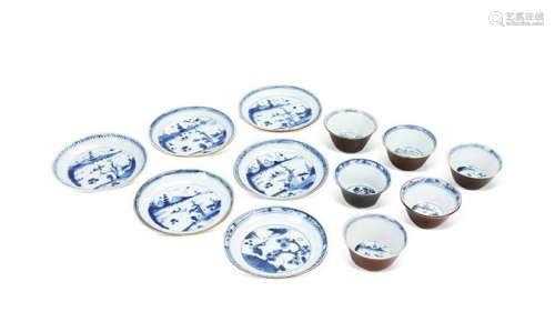 青花风景图茶碗连碟 (一套十二件)