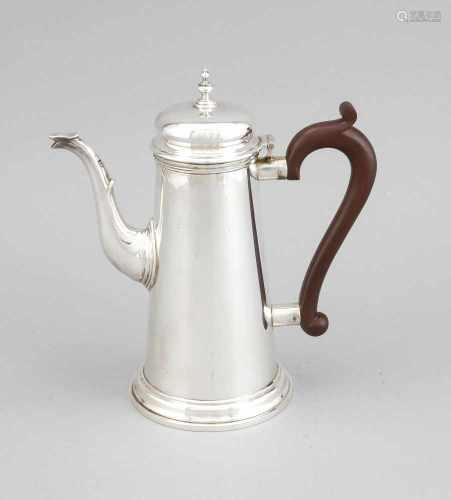Kaffeekanne, England, 1975, MZ: T. Hill, Birmingham, Sterlingsilber 925/000, rundergetreppter Stand,