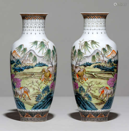 A FINE PAIR OF POLYCHROME PAINTED PORCELAIN VASES WITH HORSES IN A LANDSCAPE