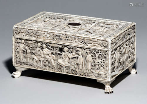 A FINE IVORY SEWING BOX