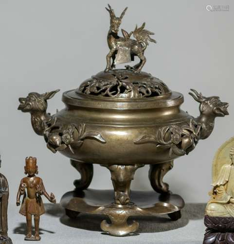 A LARGE THREE-PART BRONZE CENSER ON STAND