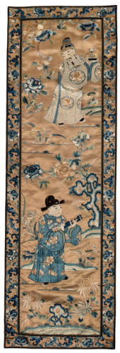 AN APRICOT-GROUND SILK EMBROIDERY WITH IMMORTALS