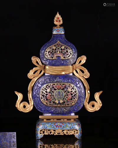 A CLOISONNE GOURD VASE EMBED WITH BLUE STONE