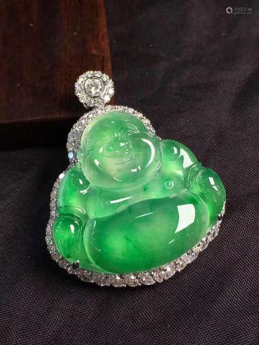 A NATURAL BUDDHA DESIGN GLASS SPECY JADEITE