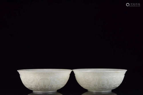 17-19TH CENTURY, A PAIR OF FLORAL PATTERN HETIAN JADE BOWLS, QING DYNASTY