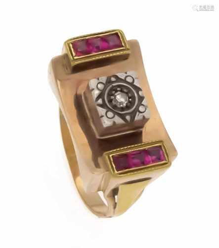 Rubin-Diamant-Ring RG 750/000 mit carréeförmig fac. Rubinen je 2 mm und einem Diamanten0,02 ct l.