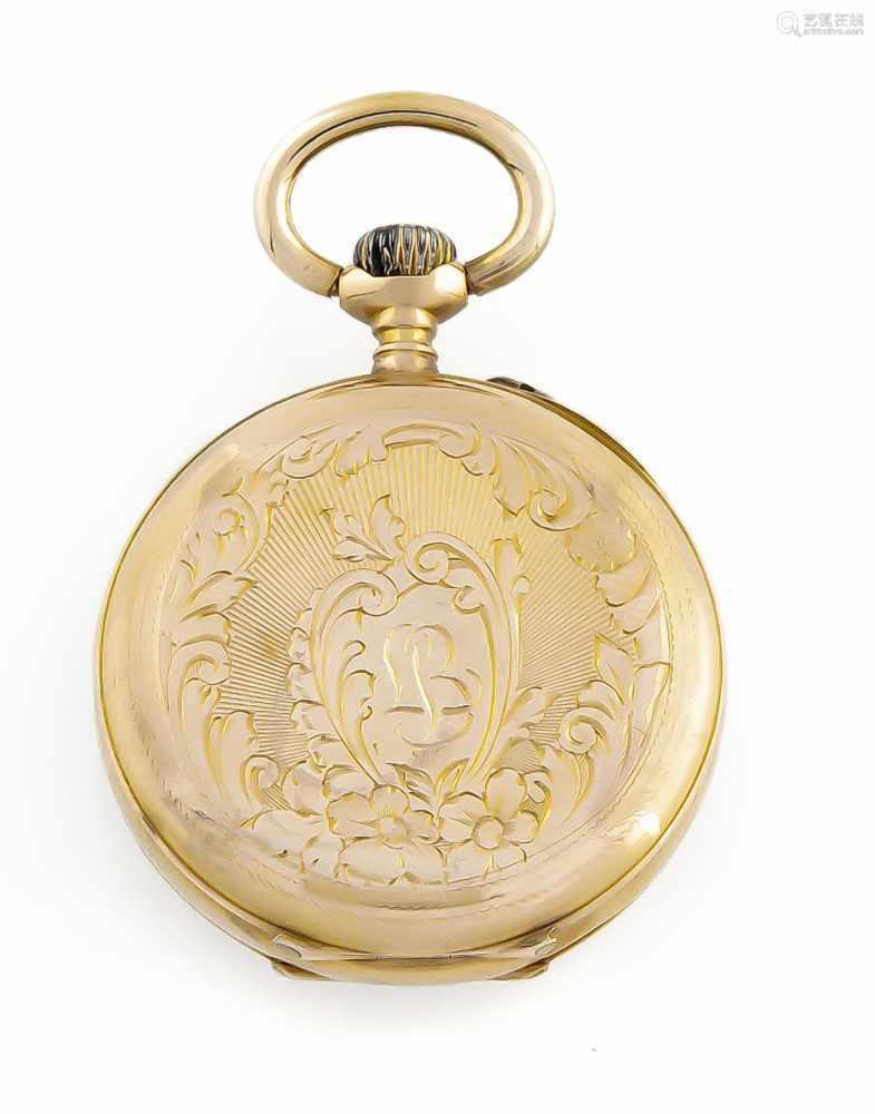 Damentaschenuhr 585 Gold 2 Deckel, Zylinderwerk, Uhrwerk läuft