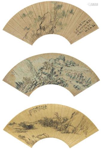 張熊、潘錦、拙齋  山水三幀 設色金箋紙 鏡心