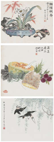 何煜(1877﹣1922)、葛宛芹、徐韶九(1911﹣? )  花卉三幀 設色紙本 鏡心