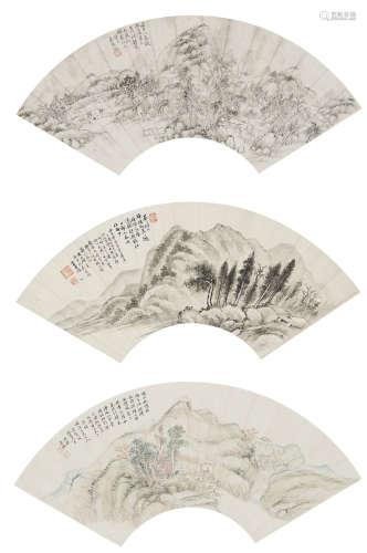 秦祖永、董耀、阮蔚旨遐  山水三幀 設色紙本 鏡心