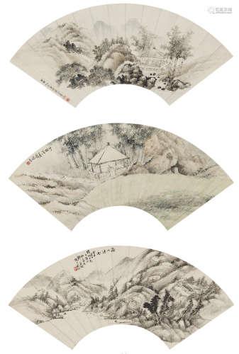 蔣潤生、鄭春澍等  山水三幀 設色紙本 鏡心