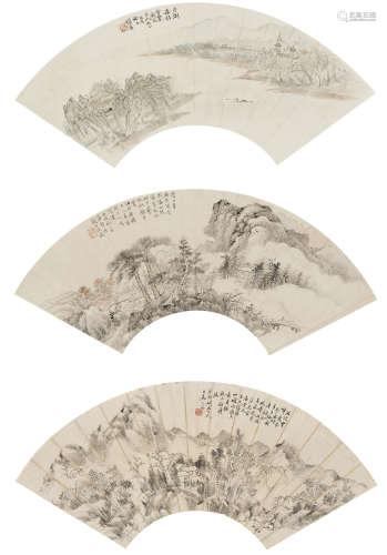 汪彥份(1833-1893)、陶紹源(1814-1865)等  山水三幀 設色紙本 鏡心
