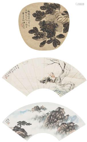 徐子梅、李芳園、胡若思  花卉、人物山水三幀 設色絹本、設色紙本 鏡心