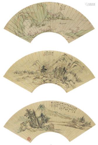 許鳳、養泉、吳楨  山水三幀 設色金箋紙 鏡心
