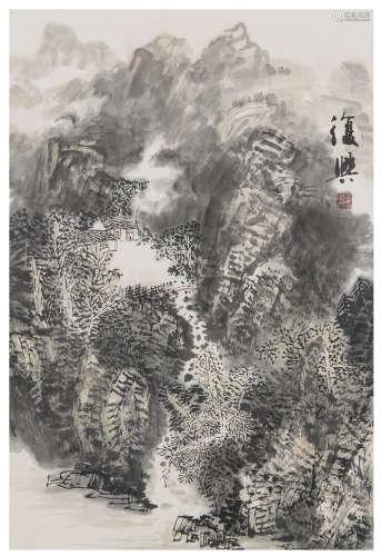 張復興 b.1946 山居圖 設色紙本 立軸