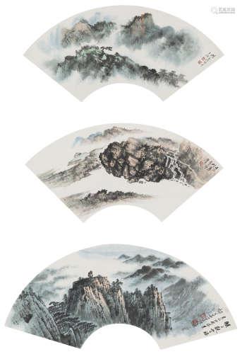 胡若思、郁文華  山水三幀 設色紙本 鏡心